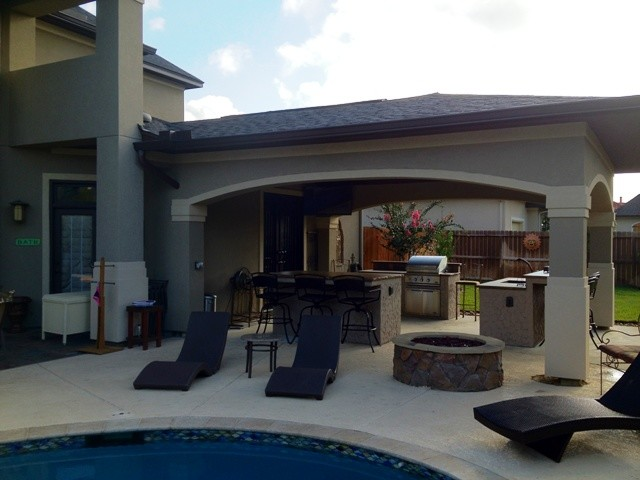 Houston covered patio & poolside escape - Contemporary - Patio - other metro - by Outdoor ...