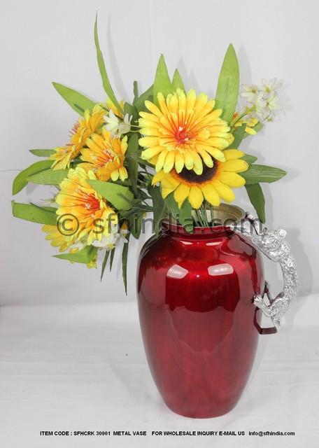 Recycled Metal Vase traditional-vases