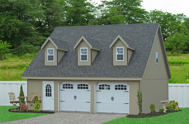 28x32 prefab car garage in smithville pa traditional for Modular 2 car garage with apartment