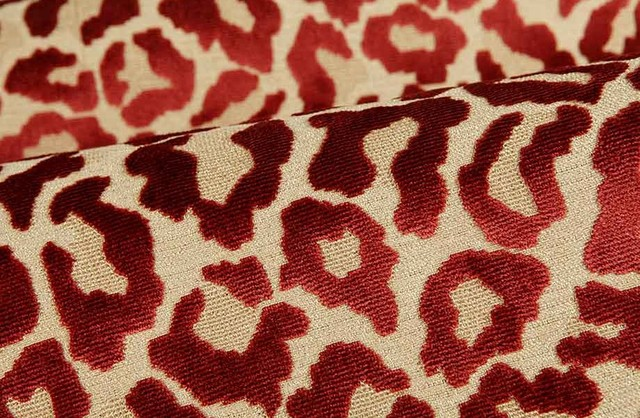 leopard print upholstery fabric in raspberry red