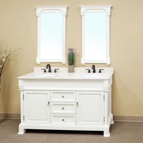 Double Sink Vanity White : ... White Double Bathroom Vanity with Optional Mi contemporary-bathroom