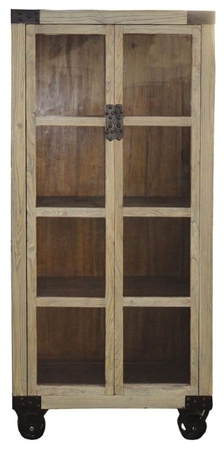 Modern Restored Natural Wood Glass Door Display Cabinet w/Wheel - Industrial - China Cabinets ...