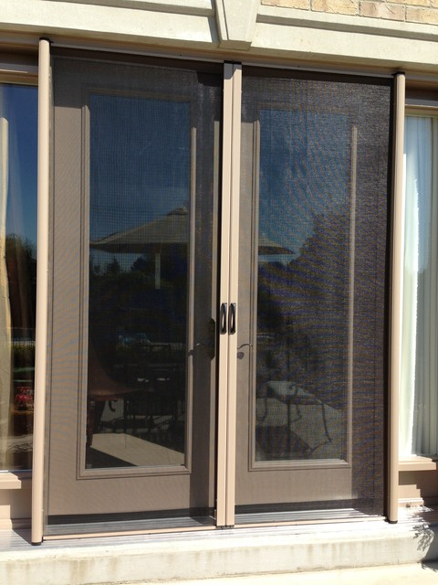 French door retractable screen contemporary screen for Retractable screen door for double french doors