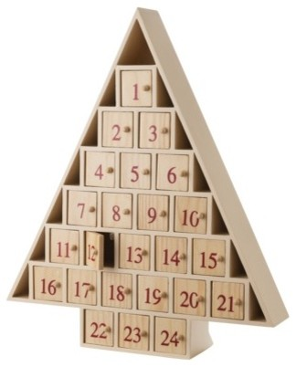 Wood Tree Shape Advent Calendar - Contemporary - Holiday Accents And Figurines - by Target