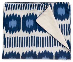 Blue Collins Ikat Bedspread mediterranean-bedding