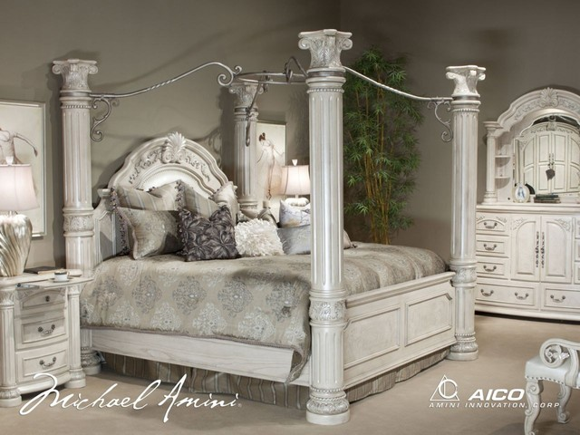 Aico Furniture Monte Carlo Ii 7 Piece California King Poster Bedroom Set In Si Bedroom