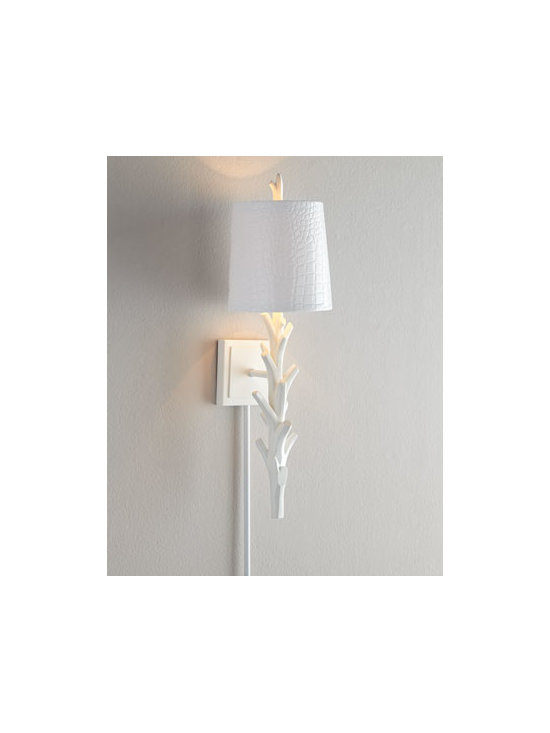 """Regina-Andrew Design - Regina-Andrew Design White """"Coral"""" Sconce - A bit exotic, a bit coastal, this sconce featuring a faux-coral body and crocodile-embossed shade brings light to narrow spaces. Made of resin. Crocodile-embossed faux-leather shade. Uses one 40-watt bulb. Direct wire; professional installation requ..."""