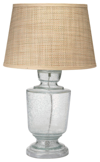Jamie Young Lafitte Clear Seeded Glass Small Table Lamp Base Modern Lamp