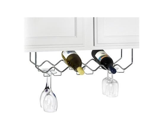"Spectrum Diversified Design - Under Cabinet Wine Rack With Stemware - We see a lot of wasted space under cabinets. Slip this handy rack under your upper cabinet and immediately you have room for 6 wine bottles and 6 glasses. Mounting hardware included. Chrome22""W x 8""D x 6""H"