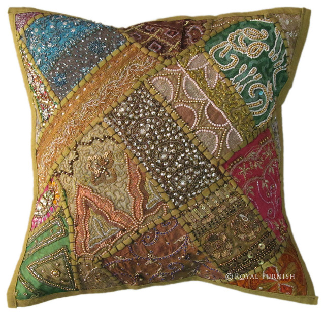 Green Unique Beaded Patchwork Embroidered Accent Throw Pillow Cover Sham - Decorative Pillows ...