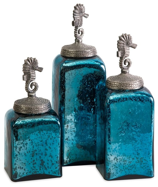 Coastal ocean blue hammered glass seahorse canisters set for Glass bathroom canisters