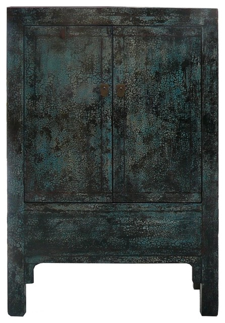 Chinese Crackle Blue Lacquer Armorie Storage TV Cabinet rustic-entertainment-centers-and-tv-stands