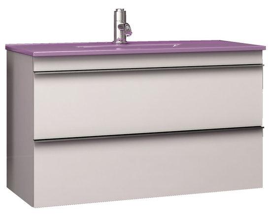 "Macral Aries 32"" floating bathroom vanity. white. - Macral Aries Wall-mounted Bathroom vanity 32"". 2 drawers w/soft close. Grey Pearl gloss."