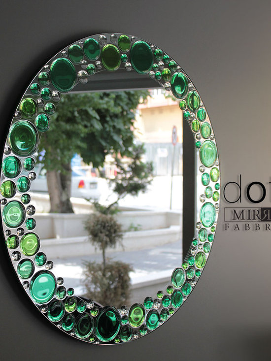 Dots Wall Mirror - Dots wall mirror will lighten your day with its fresh apple green tones. Other colors and clear version also available upon request.