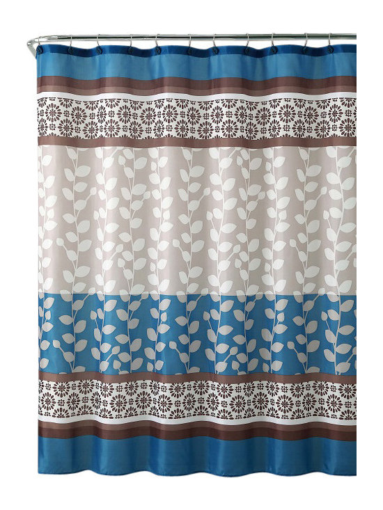 """Shower Curtain-Riley Taupe/ Blue Embossed Microfiber - 72""""x 72"""" - Riley Taupe/ Blue Embossed Microfiber Shower Curtain- 72""""x 72"""""""