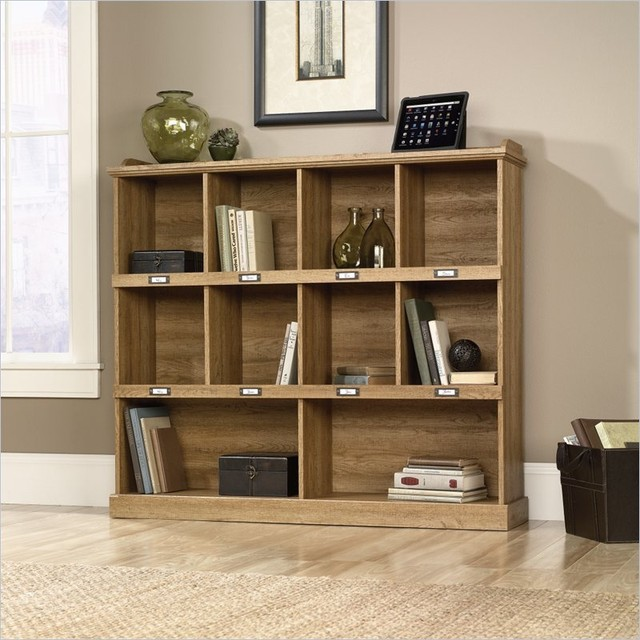 Sauder Barrister Lane Bookcase in Scribed Oak Finish transitional-bookcases-cabinets-and-computer-armoires