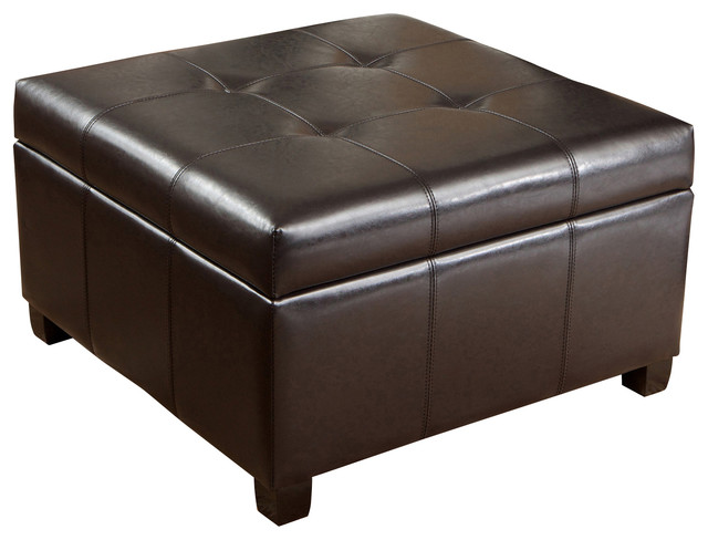 Tufted Espresso Brown Leather Storage Ottoman Coffee Table Contemporary Footstools And