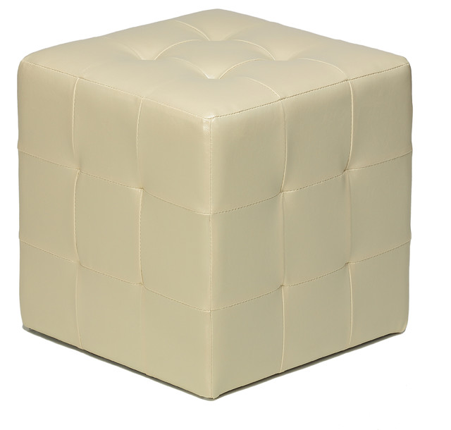 Braque Cube Ottoman Ivory Modern Footstools And