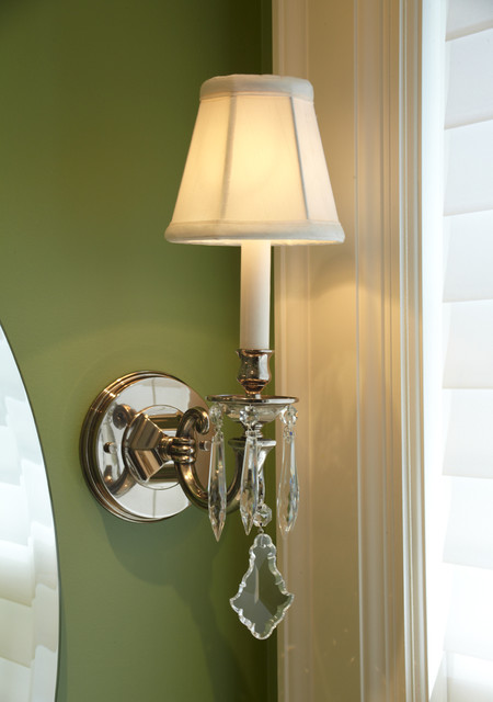 Nickel And Crystal Bathroom Sconce Traditional Bathroom Vanity Lighting
