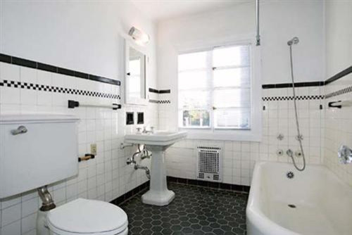White  w/Black Bath traditional bathroom