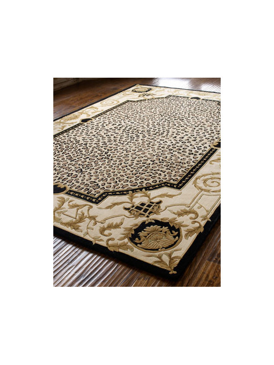 "Horchow - ""Leopard Maple"" Rug - We love the regal look of this rug with its leopard-print center and its irregularly shaped border embellished with scrolling vine and leaf motifs. A thick pile and carved details add to the luxury. Hand tufted of wool. Sizes are approximate. Imported. See our Rug Guide for tips on how to me"
