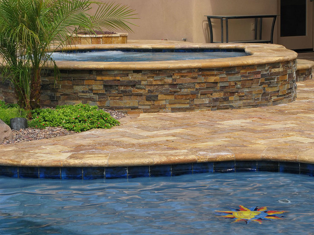 Stone Ledger Pool Hardscaping Rustic Dallas By