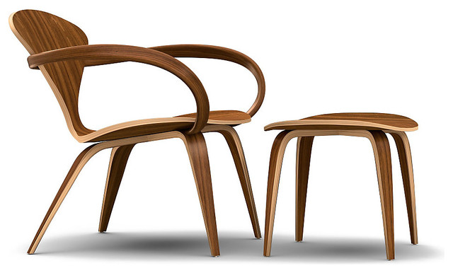 Cherner Lounge Chair And Ottoman With Arms In Natural Walnut Midcentury