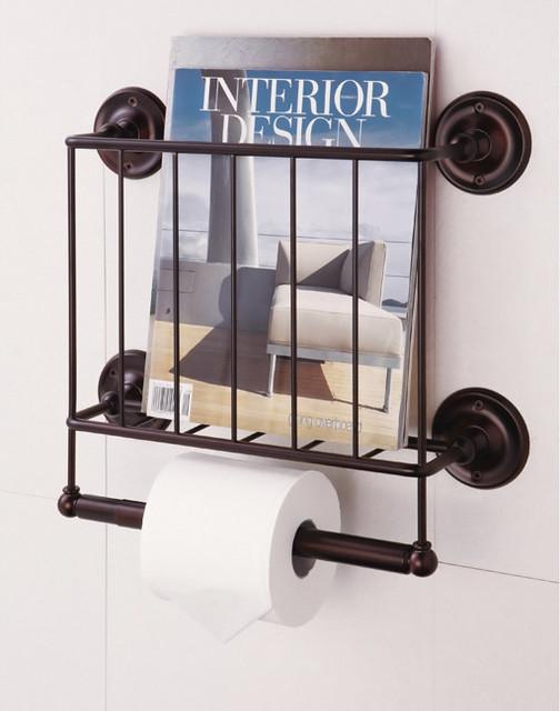 Estate Oil Rubbed Bronze Finish Magazine Rack/ Toilet Paper Holder contemporary-toilet-accessories