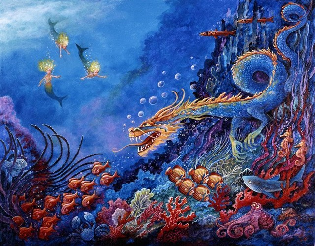 The sea dragon wall art traditional wallpaper by for Dragon mural wallpaper
