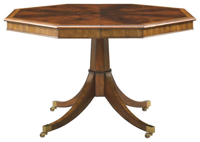 hickory white octagonal dining table 890 14 transitional