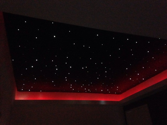 Fibre Optic Starlight Ceiling In Small Movie Room