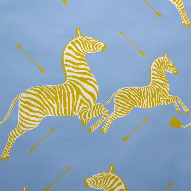 Zebras Hand-printed Wallpaper, Periwinkle eclectic-wallpaper