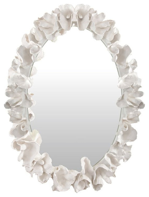 Coral Coco Mirror by Made Goods - $2,500 Est. Retail - $2,200 on Chairish.com beach-style-mirrors