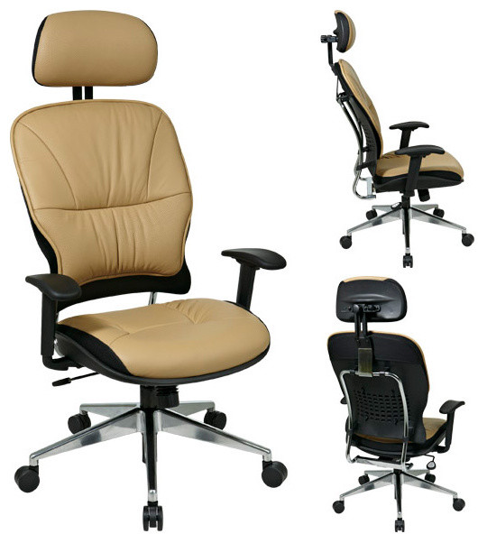 Leather Managers Office Chair With Adjustable Headrest Modern Office Chai