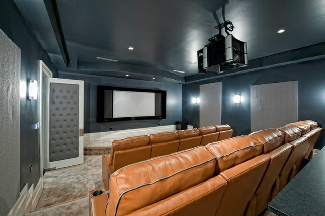 Modern Home with custom audio/video contemporary-home-theater