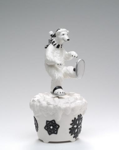 5.63 InchBlack and White Ice Skating Polar Bear Themed Musical Box midcentury-kids-decor
