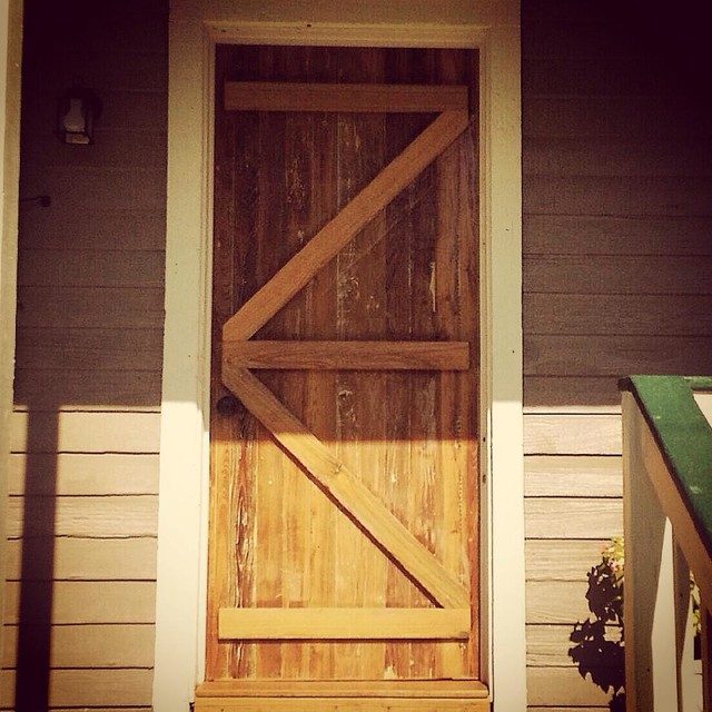 custom exterior barn style door reclaimed cypress front
