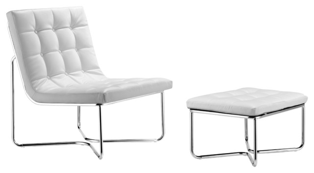 Zuo Waltz White Leatherette Lounge and Ottoman modern chairs