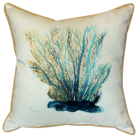 Betsy Drake Blue Coral Pillow Indoor Outdoor Beach
