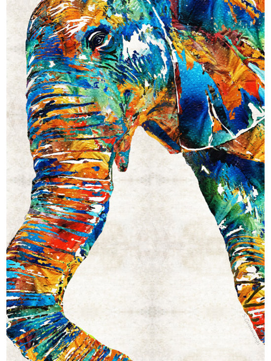 Animals, Fish and Birds - Colorful Elephant Art By Sharon Cummings