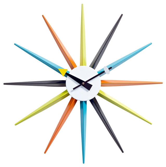 Sunburst Wall Clock In Multicolor Modern Wall Clocks By LexMod