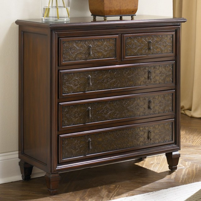 Hidden Treasures 5 Drawer Hammered Chest traditional-dressers