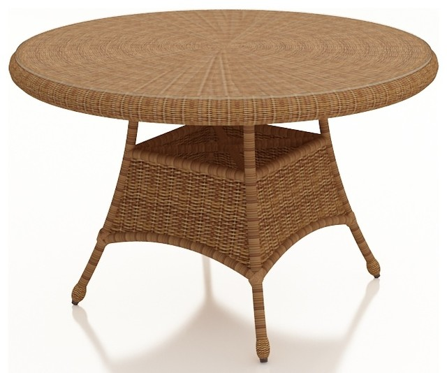 Catalina Rattan Traditional 42 Round Dining Table Straw Wicker Tradi