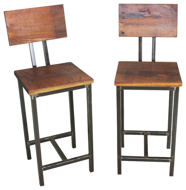 reclaimed wood bar stools set of 2 industrial bar