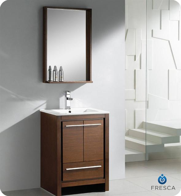 Fresca Allier 24-inch Wenge Brown Modern Bathroom Vanity with Mirror contemporary-bathroom-mirrors