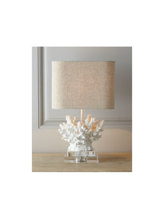 "Horchow - White ""Coral"" Lamp - Perfectly proportioned and scaled to be a fitting accent for a special spot, this lamp features a base recast from a beautiful piece of coral. It's sure to evoke thoughts of sunny climes and sandy beaches. ""Coral"" made of resin. Base made of mother of..."