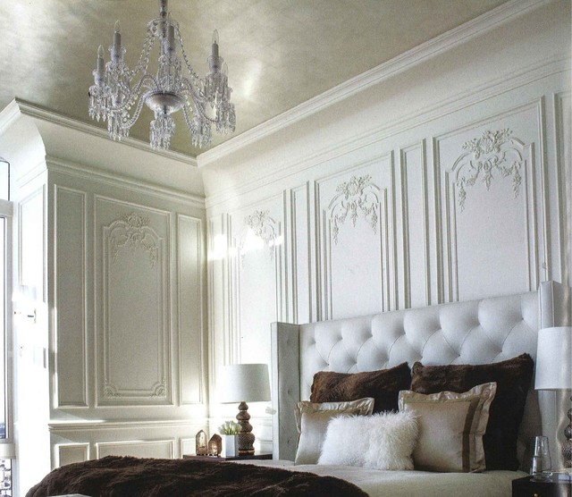 French Paneled Walls Traditional Bedroom chicago