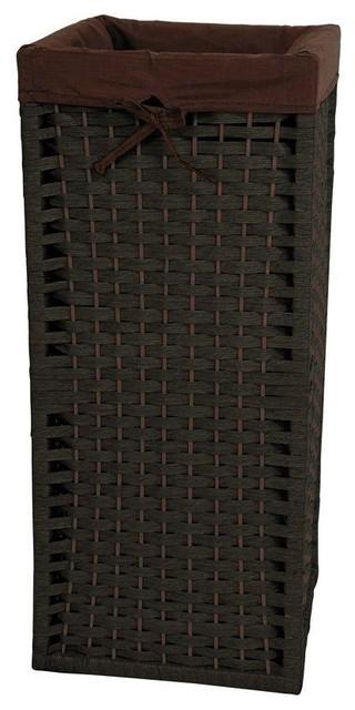 """28"""" Natural Fiber Laundry Hamper - Black - Transitional - Hampers - by Oriental Furniture"""