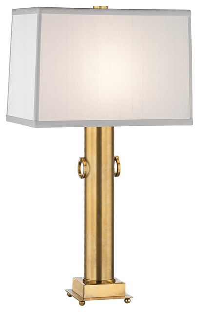 Transitional Mary McDonald Ondine Brass Off-White Shade Accent Lamp traditional-lamp-shades