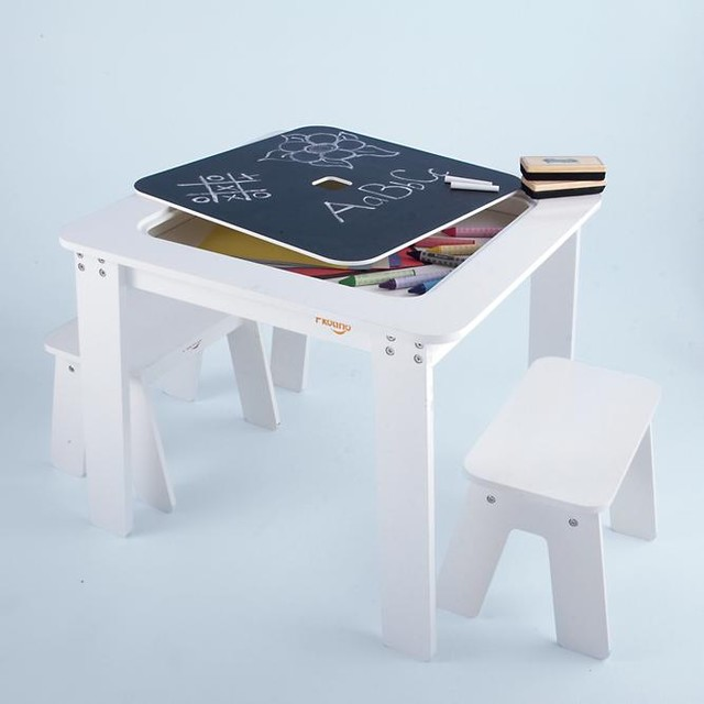 Kids Reversible White Chalkboard Table Modern